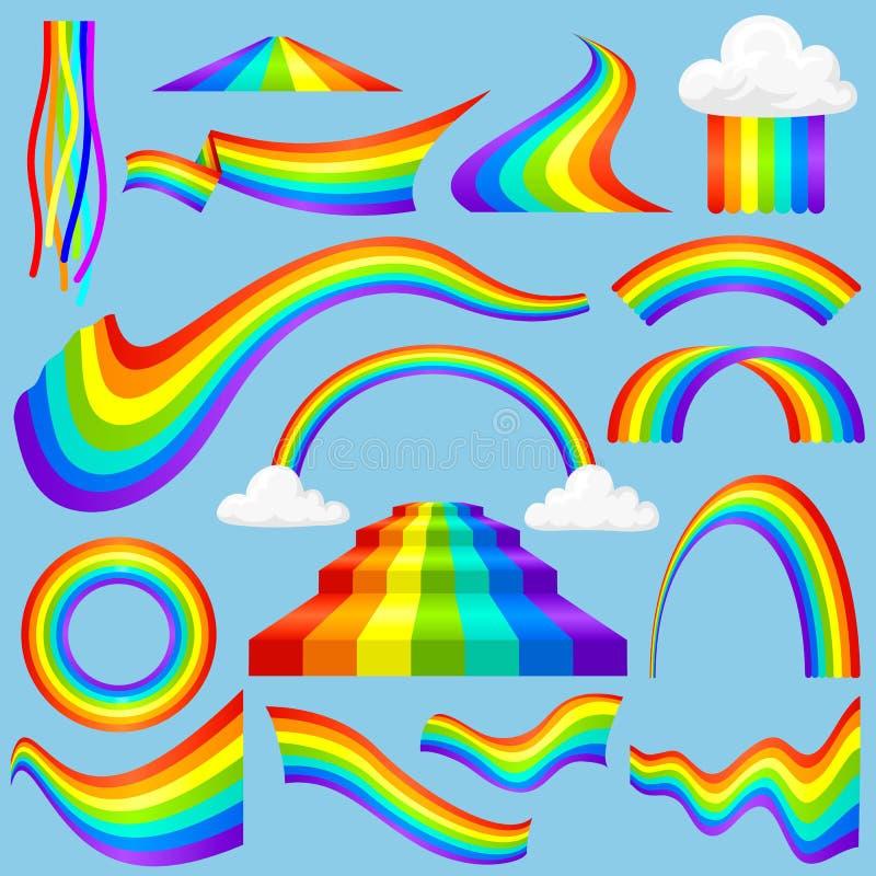 Diversas tiras de color del arco iris del estilo después del sistema óptico del vector del efecto del cielo de la lluvia libre illustration
