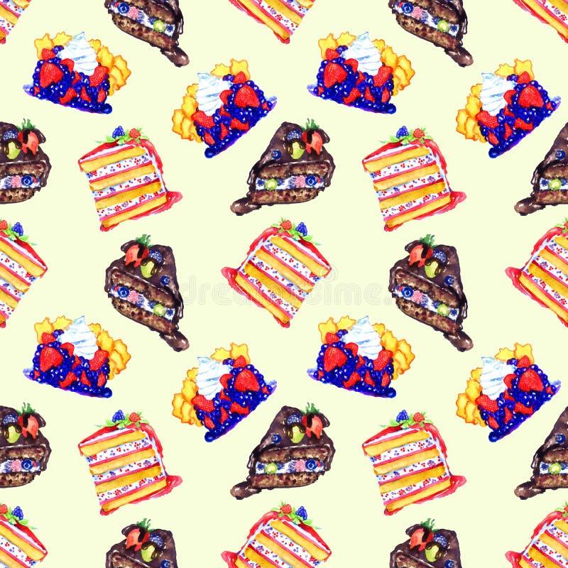 Diversas tortas y empanadas con las bayas, rebanadas cortadas ilustración del vector