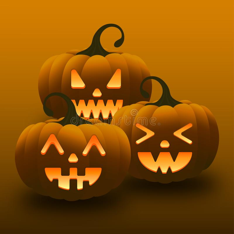 Diversas tres calabazas felices de Halloween fotos de archivo libres de regalías