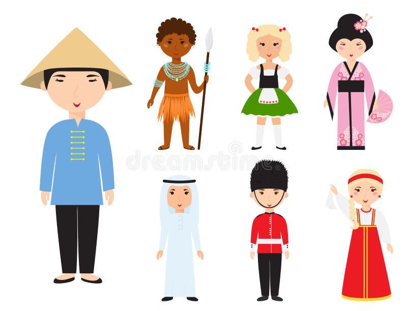 Diverse avatars verschillende beeldverhaalkarakters stock illustratie