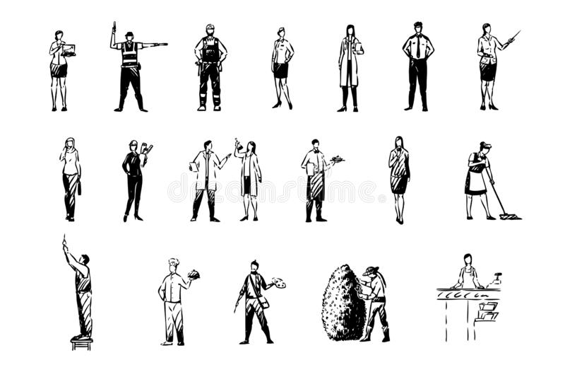 Diverse beroepen, financieel analist, manusje van alles, politieman, schoolleraar, wetenschapsarbeiders, geplaatste beroepen royalty-vrije illustratie