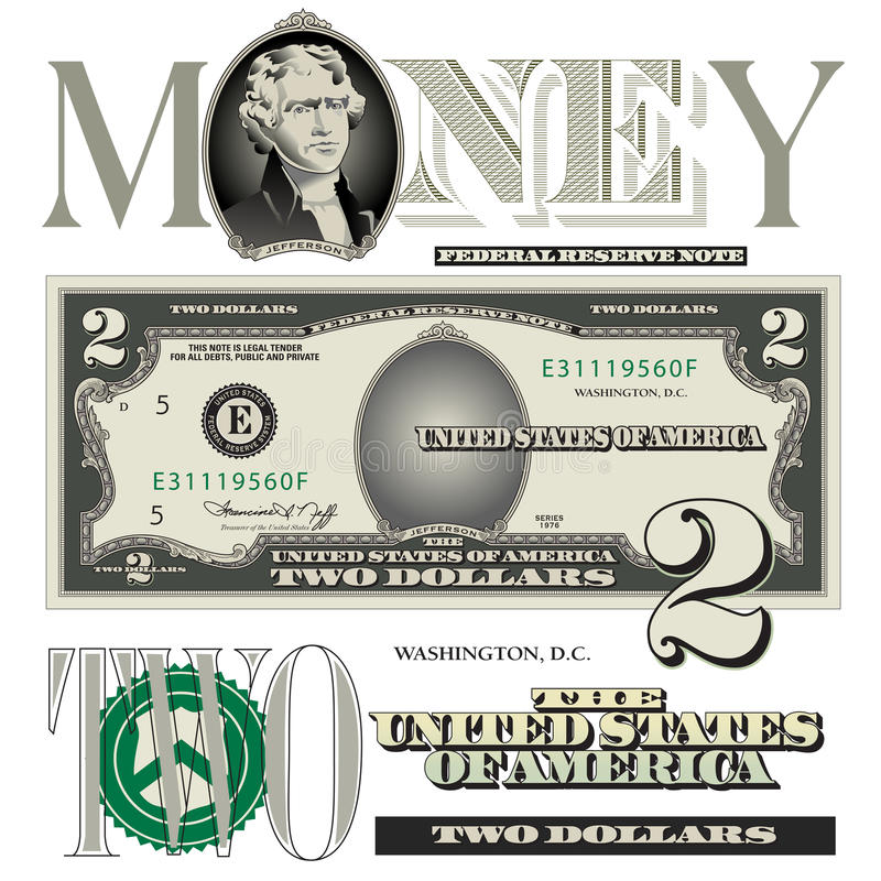 Diverse 2 beståndsdelar för dollarräkning royaltyfri illustrationer