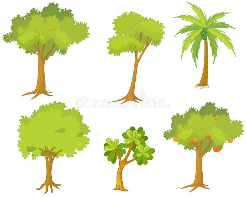 Diverse bomen en installaties stock illustratie