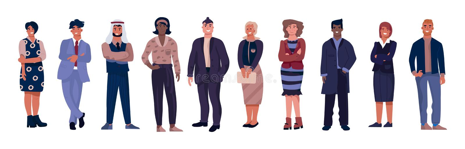 Diverse business characters. Office workers with equal opportunities, multicultural professional team. Vector corporate royalty free illustration