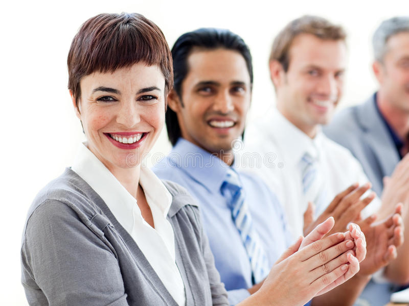 Download A Diverse Business Group Clapping A Presentation Stock Photo - Image: 12256950