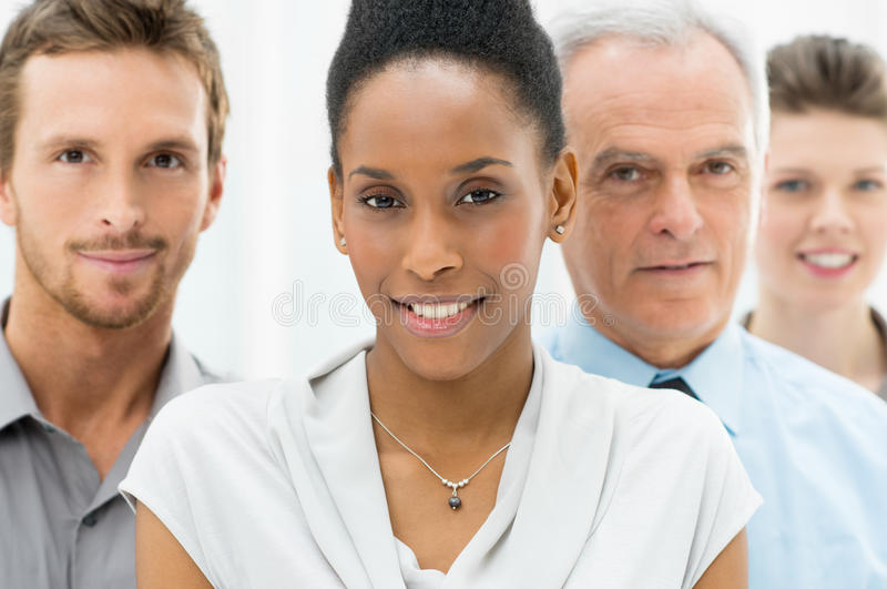Diverse Business Group. Portrait Of Young African American Businesswoman With Business Team royalty free stock image