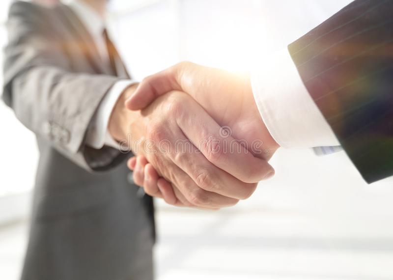 Diverse business male shaking hands. stock photo