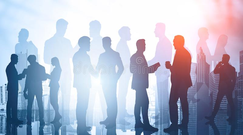 Diverse business people in city. Teamwork royalty free stock images
