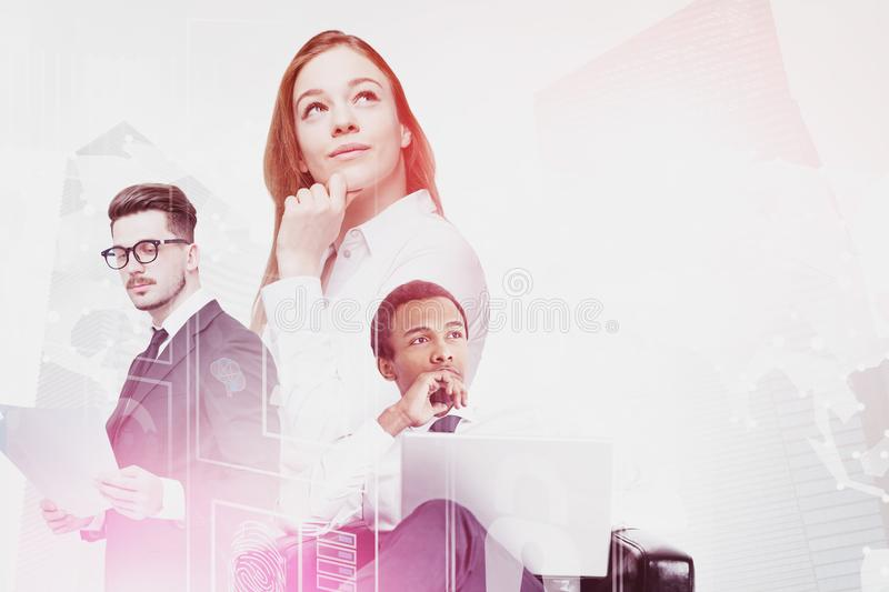 Diverse business people, digital interface royalty free stock photos