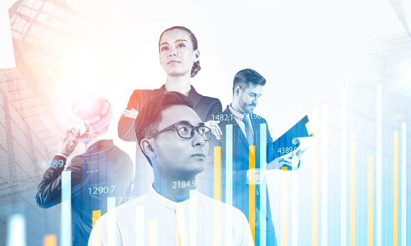 Diverse business people, graphs and HUD stock photos