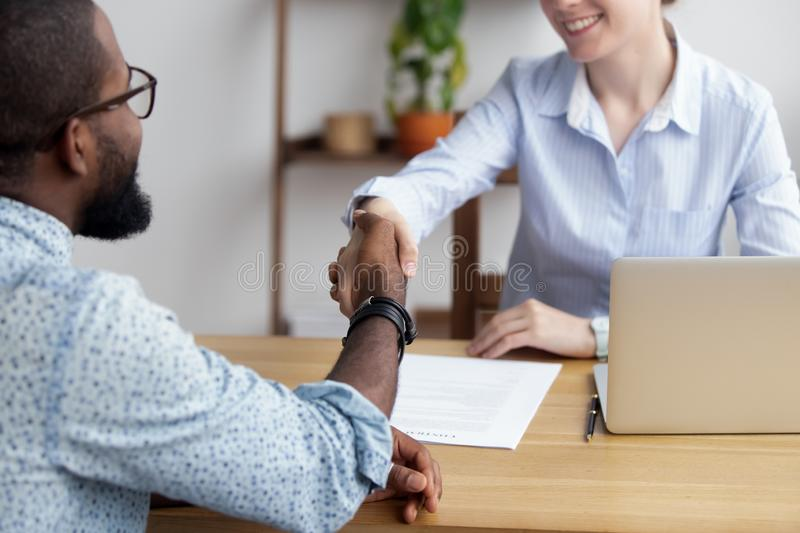 Diverse business people shaking hands greeting each other stock images
