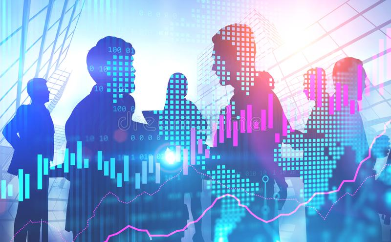 Diverse business people working together. Diverse business people talking and working together in city with double exposure of world map and graphs. Concept of royalty free stock photo