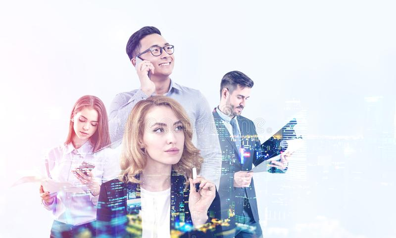Diverse business team in city stock photos