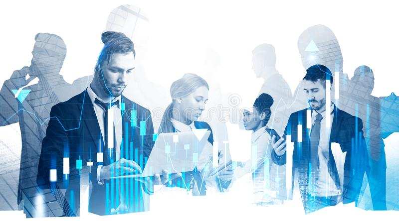 Diverse business team in city, forex graphs stock image