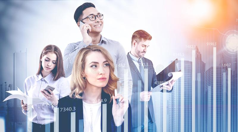 Diverse business team in city, graph royalty free stock images