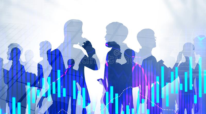 Diverse business team in city, graphs stock photo