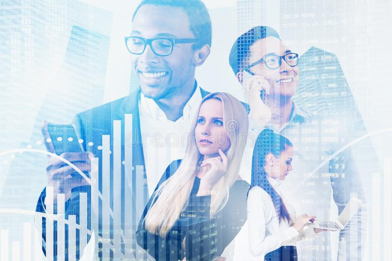 Diverse business team in city, graphs stock photos