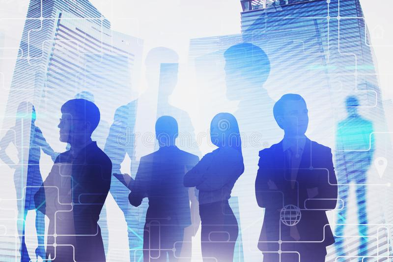 Diverse business team in city. Teamwork stock image
