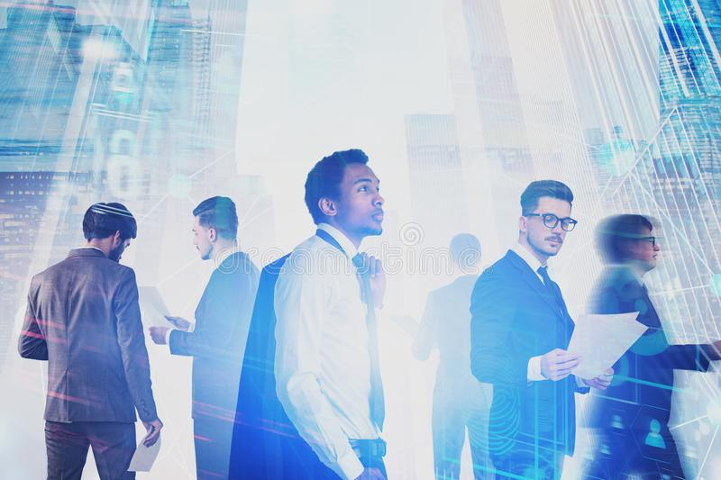 Diverse business team, digital interface royalty free stock photo
