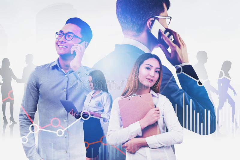Diverse business team and forex graphs. Diverse business team using gadgets with business people in background and double exposure of graphs. Concept of stock royalty free stock images