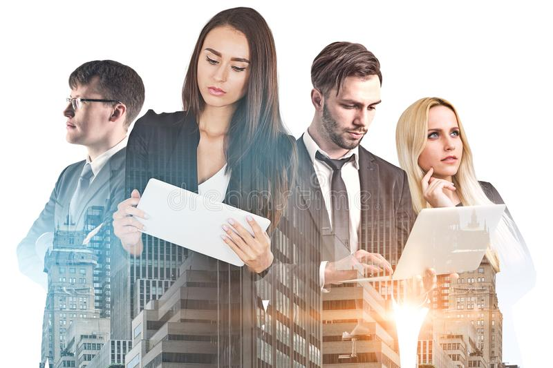 Diverse business team with gadgets in city royalty free stock photo