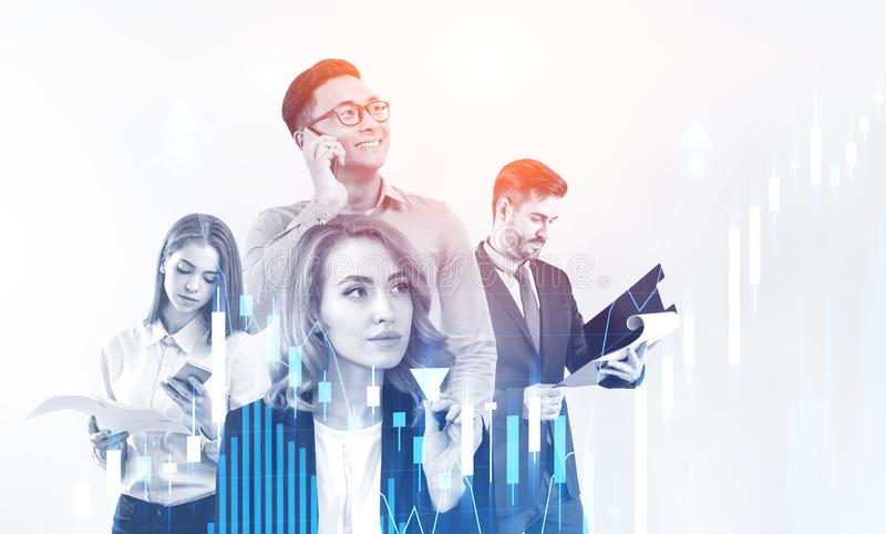 Diverse business team and graph stock image
