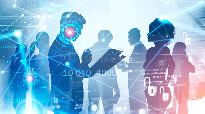 Diverse business team, HUD network interface stock images