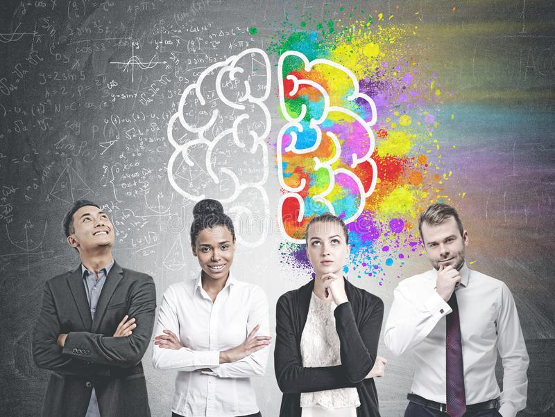 Diverse business team members, brain royalty free stock photo
