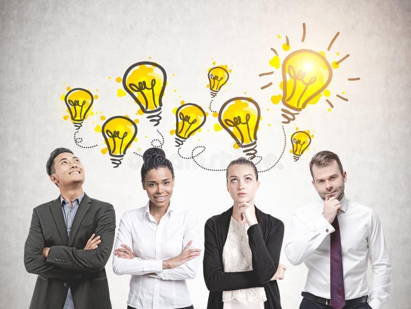 Diverse business team members, brainstorming stock image