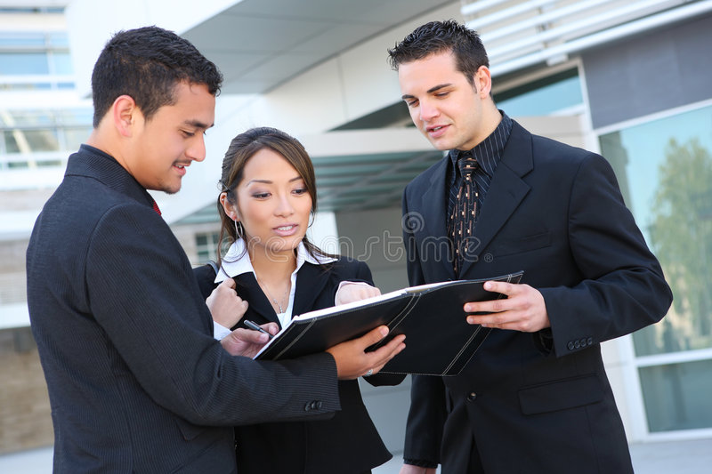 Diverse Business Team at Office Building stock images