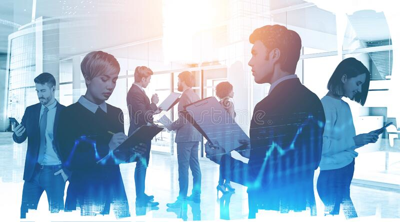 Diverse business team in office. Financial graph royalty free stock photography