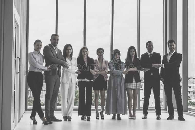 Diverse business team standing together stock photos
