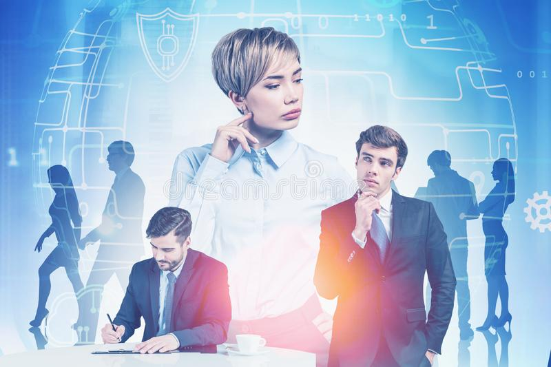 Diverse business team and technology concept royalty free stock images