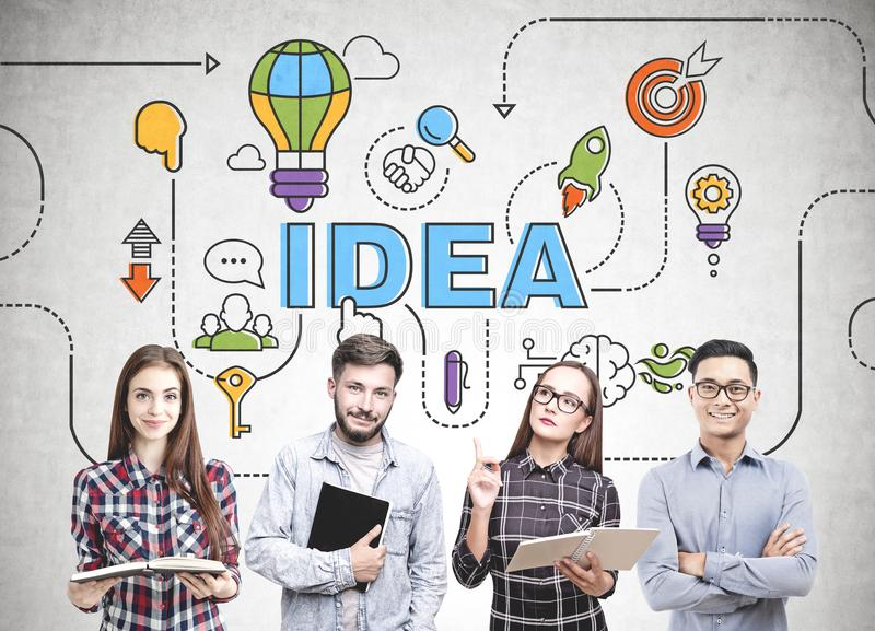 Diverse business team thinking, idea royalty free stock photos