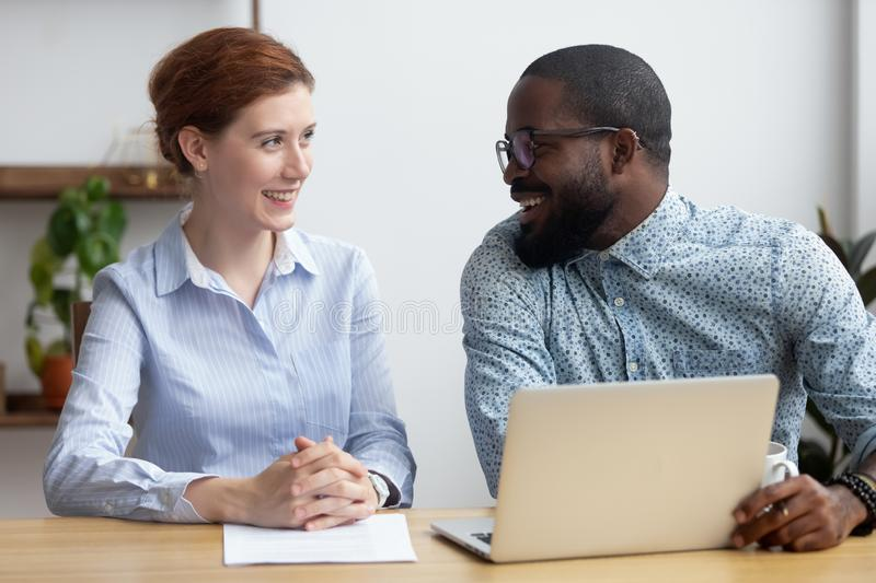 Diverse businesspeople client and consultant talking sitting at royalty free stock photos