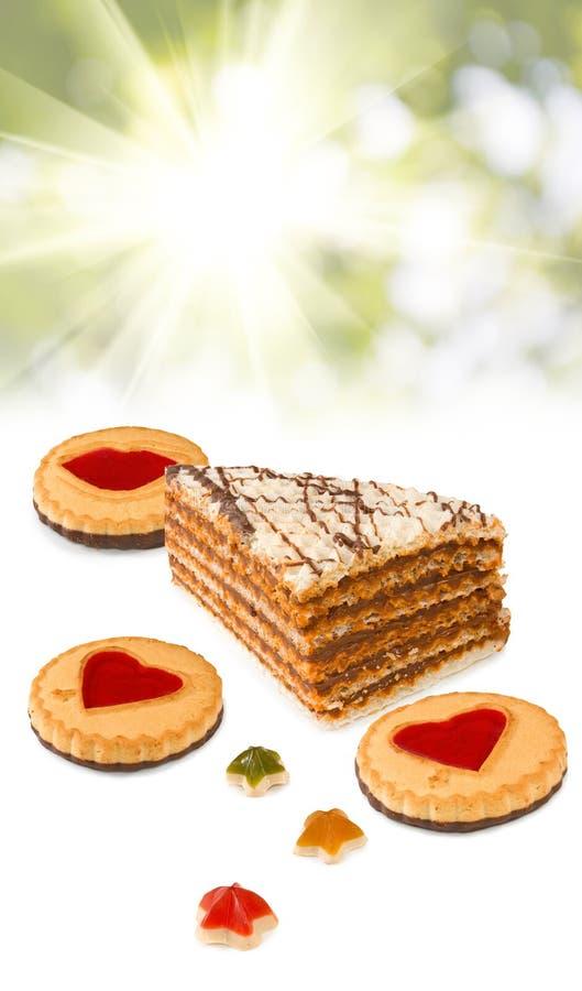 Diverse cakes op stralenachtergrond royalty-vrije stock fotografie