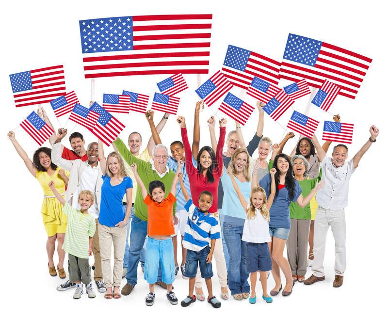 Diverse Cheerful People Celebrating Independence Day royalty free stock image