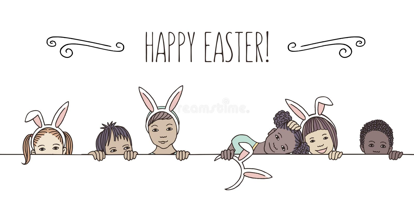 Diverse children with bunny ears - Happy Easter!. Hand drawn illustration for Easter - diverse children with bunny ears, peeking behind a horizontal line stock illustration