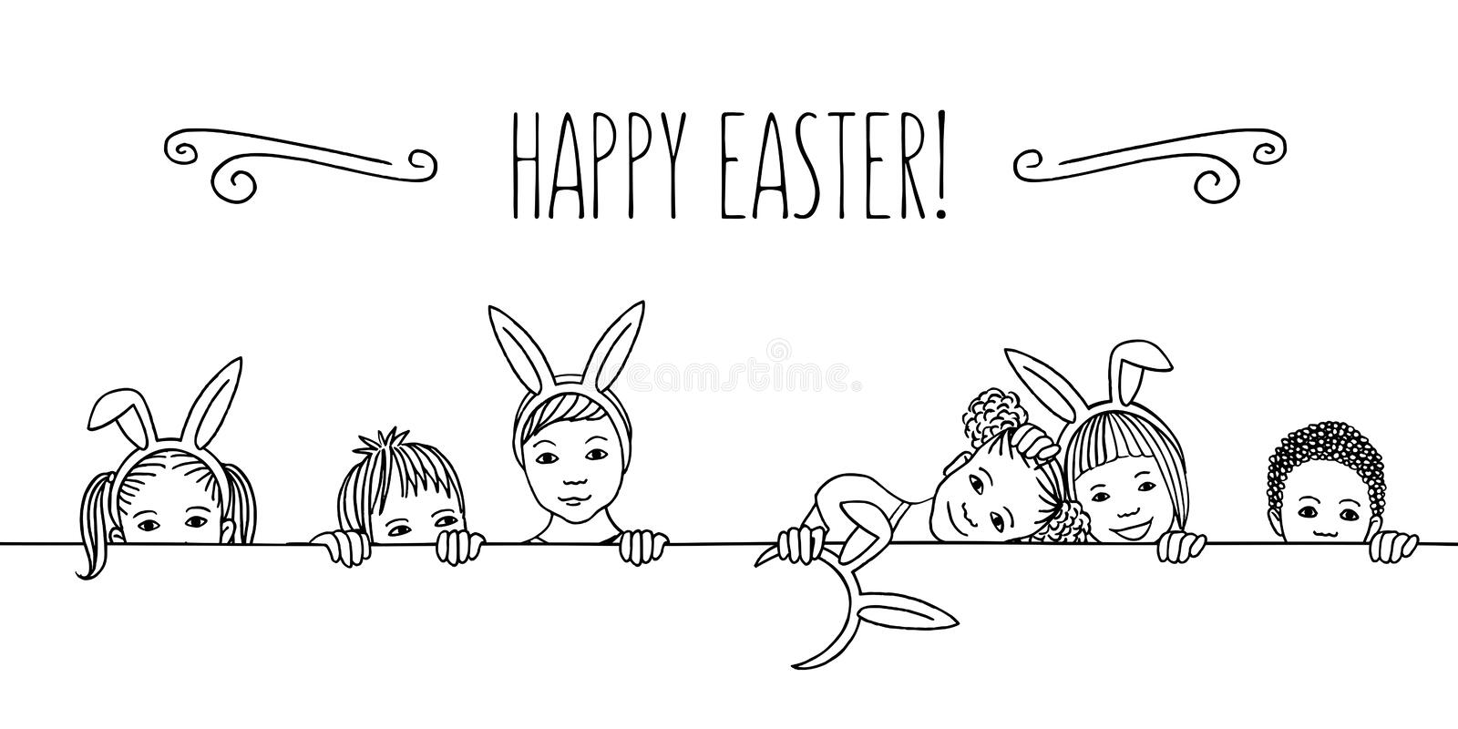Diverse children with bunny ears - Happy Easter!. Hand drawn illustration for Easter - diverse children with bunny ears, peeking behind a horizontal line, black royalty free illustration