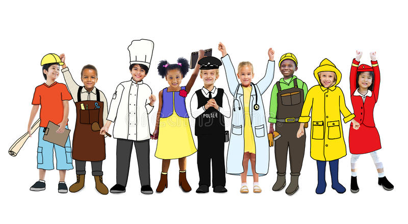 Diverse Children with Various Occupations Concept.  vector illustration