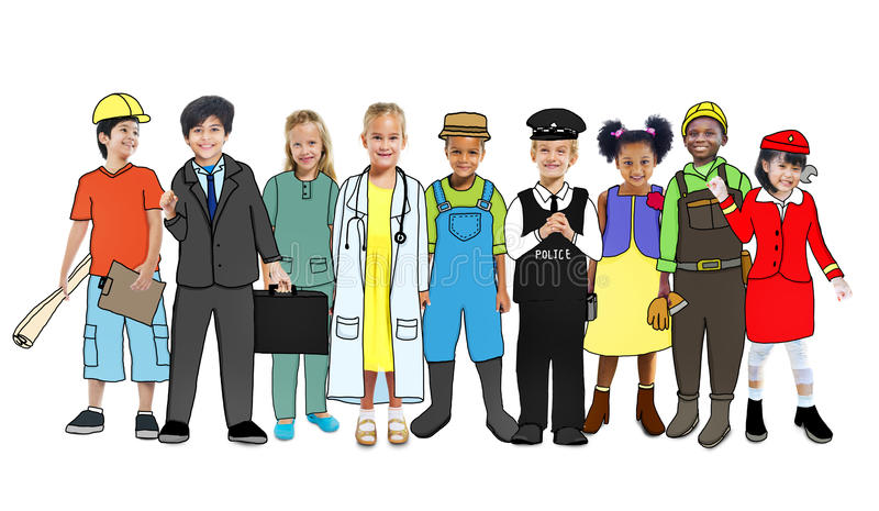Diverse Children with Various Occupations Concepts.  stock illustration