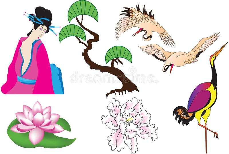 Diverse Chinese elementen, kranen, pioen, lotusbloem, bamboe vector illustratie
