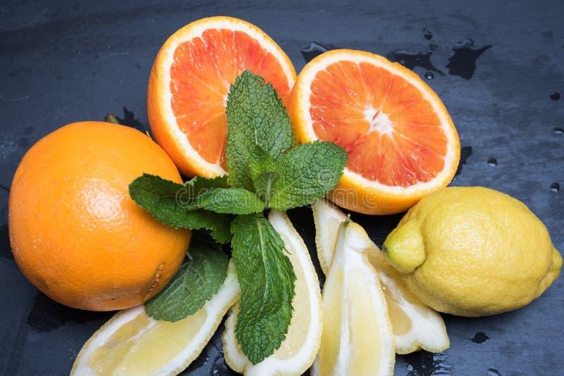 Diverse citrusvruchten en munt royalty-vrije stock fotografie