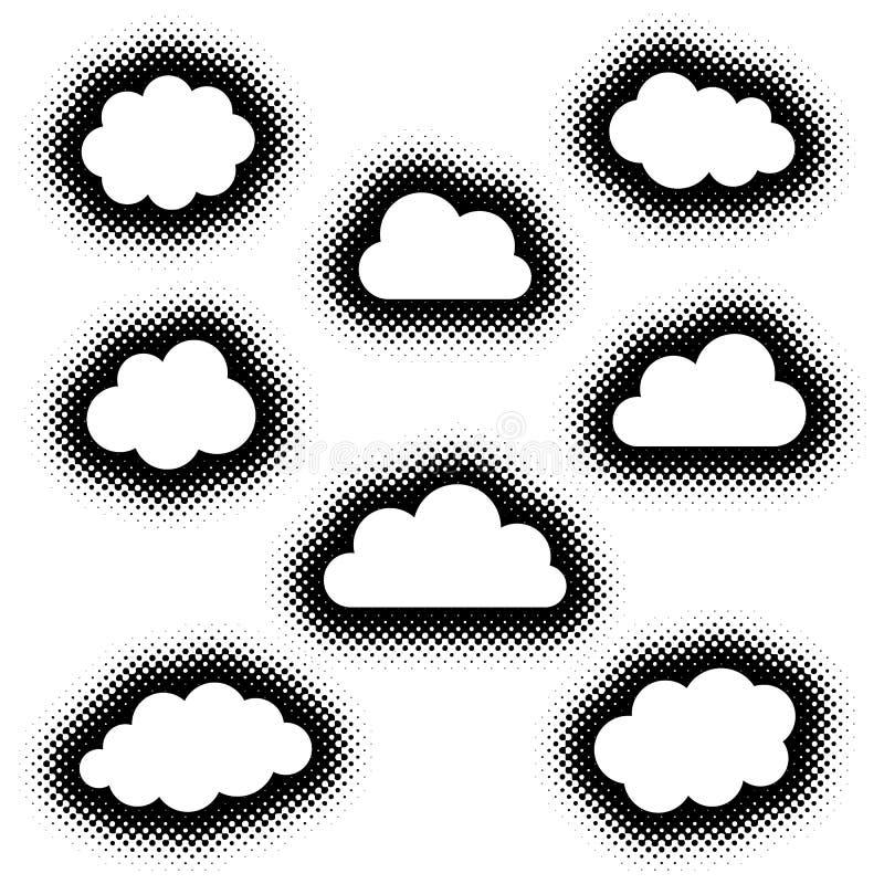 Diverse collection créative d'icônes de nuages illustration de vecteur