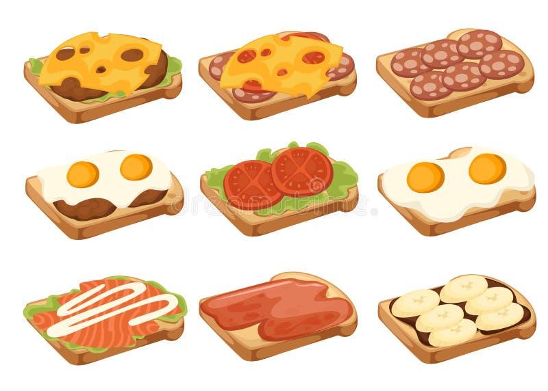 Diverse collection d'ic?ne de viande et de sandwichs v?g?taux Une seule pi?ce de pain Petit d?jeuner savoureux doux ou aliments d illustration de vecteur