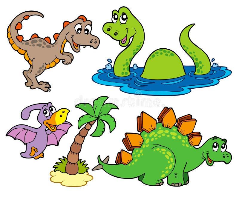 Diverse collection de dinosaur illustration de vecteur