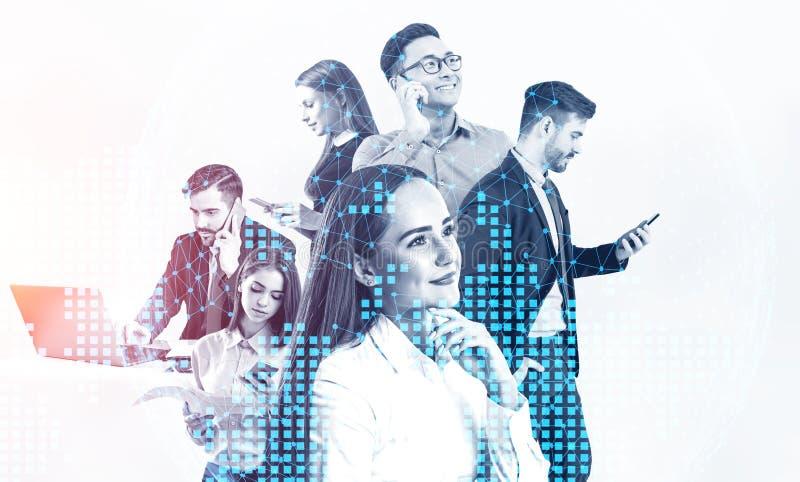 Diverse commercieel team en wereldkaart stock foto