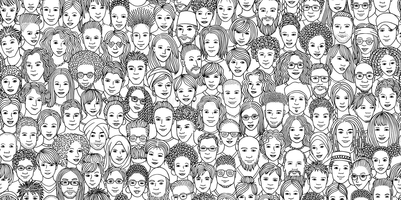 Diverse crowd of people in black and white. Diverse crowd of people - seamless banner of 100 different hand drawn faces of various ethnicities vector illustration
