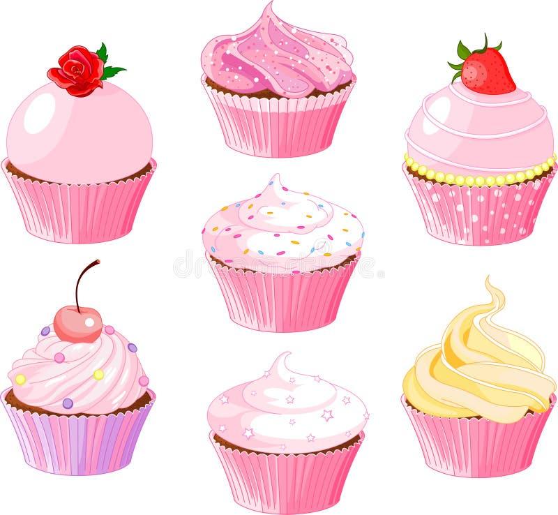 Diverse cupcake vector illustratie