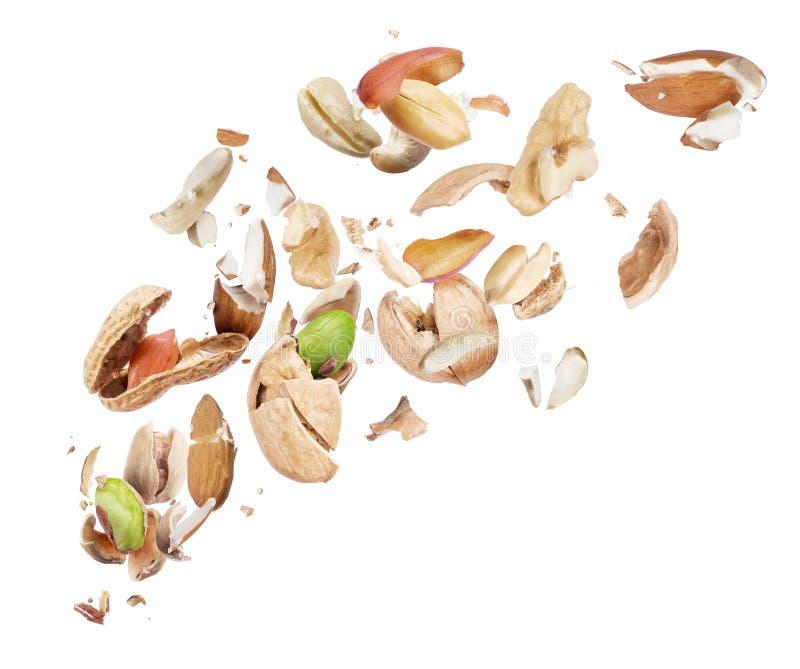 Diverse die noten in de lucht op witte achtergrond worden verpletterd royalty-vrije stock afbeelding